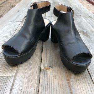 Topshop Black Ankle Strap Chunky Heel